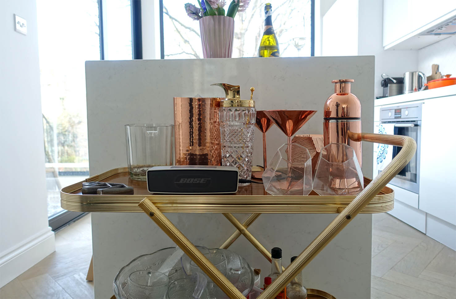 Cocktail equipment in copper at the ready.