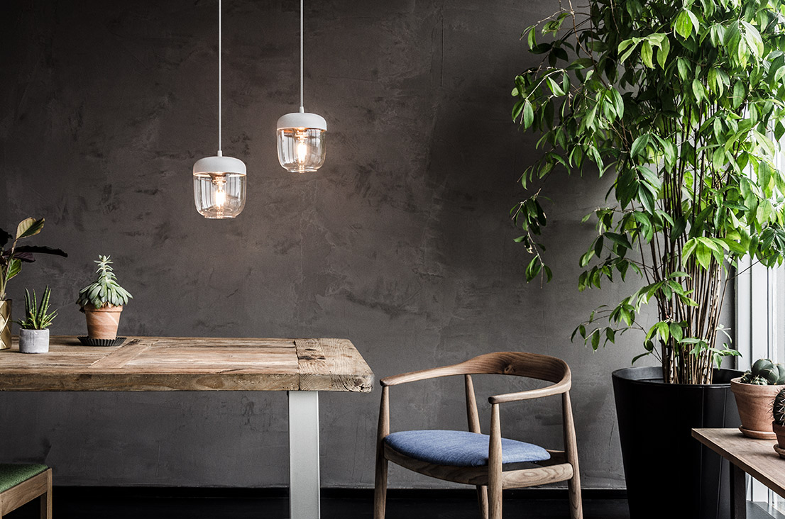 The Acorn pendants can be grouped for a striking effect.