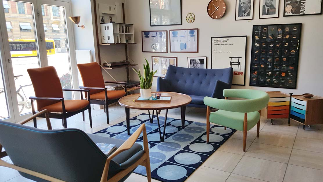 The lobby at Hotel Alexandra with it's very impressive collection of Danish mid-century furniture and memorabilia.