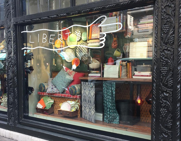 Louise's illustrations on the Liberty windows