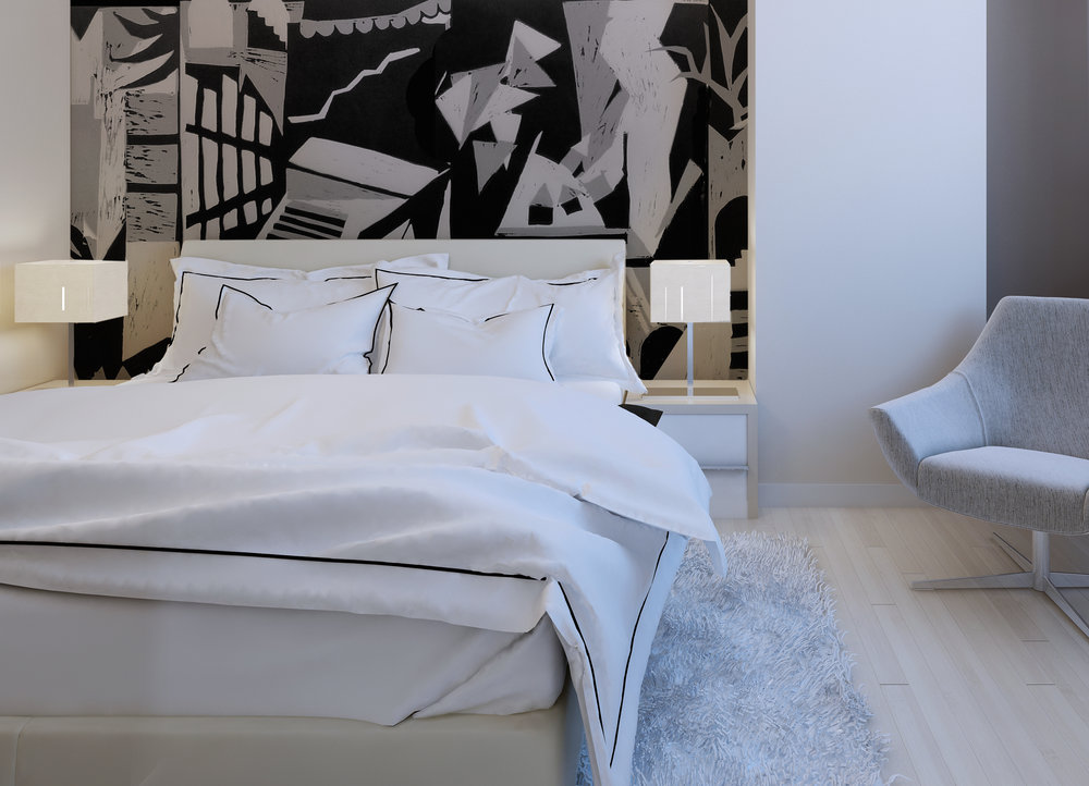 The Dr. Caligari wallpaper looks stunning in this modern bedroom. Image: HMS Studio.