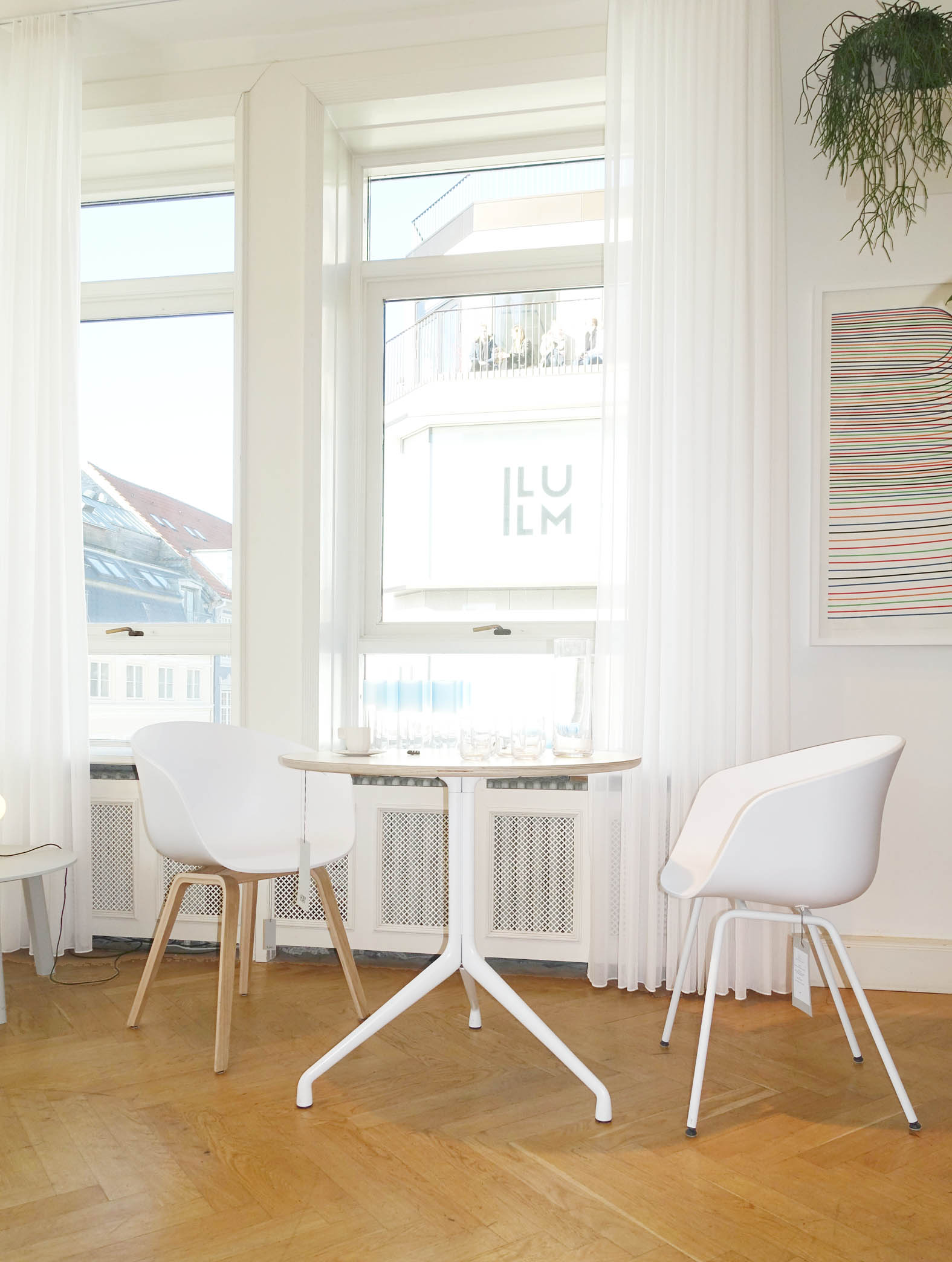 Dreamy white curtains at Hay House in Copenhagen