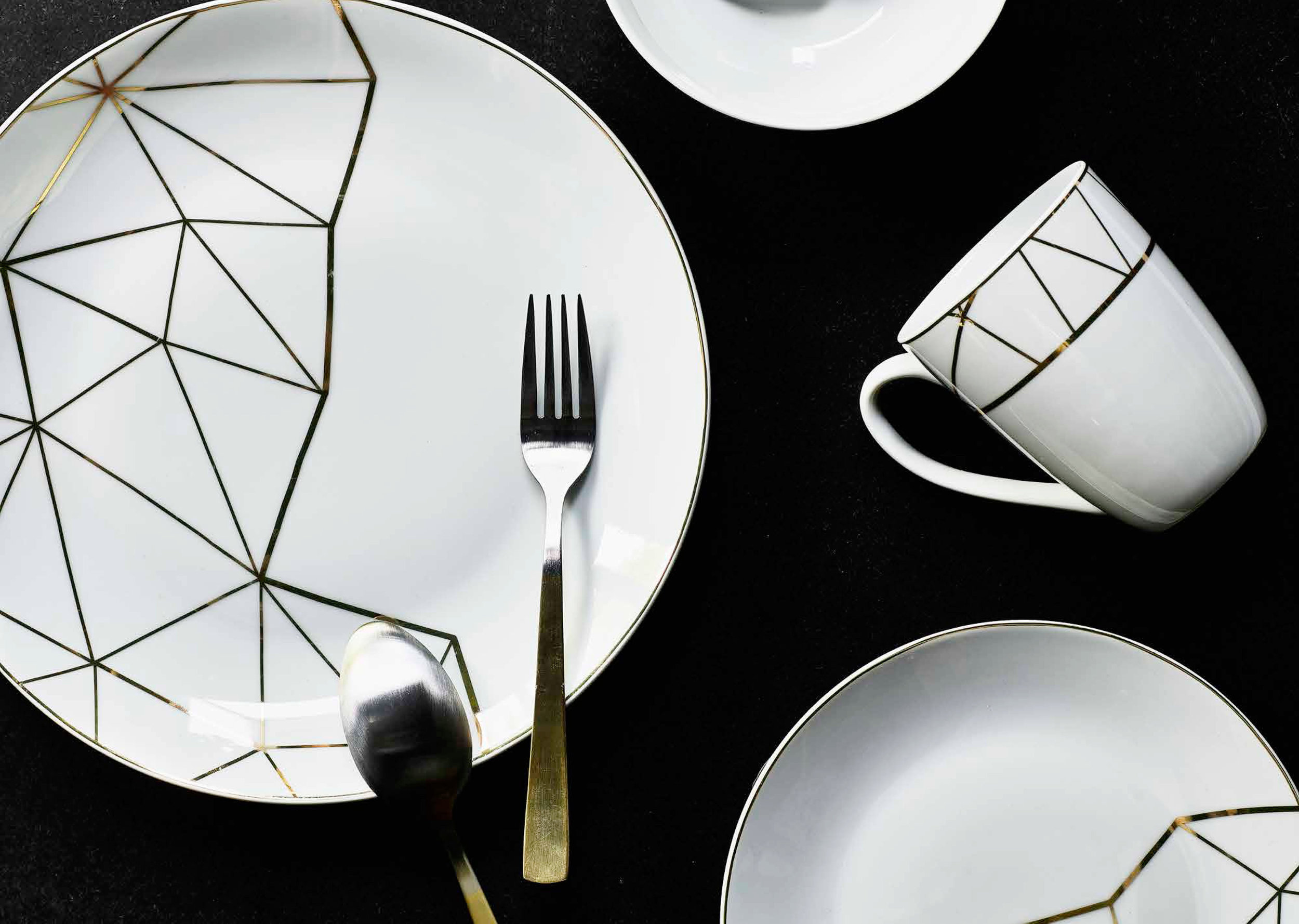 Heart of House, 8 PC Metallic Geometric Dinner Set 7074156, £24.99. The Collection, 16 PC 2 Tone Cutlery Set 7115204, £24.99, all  Argos