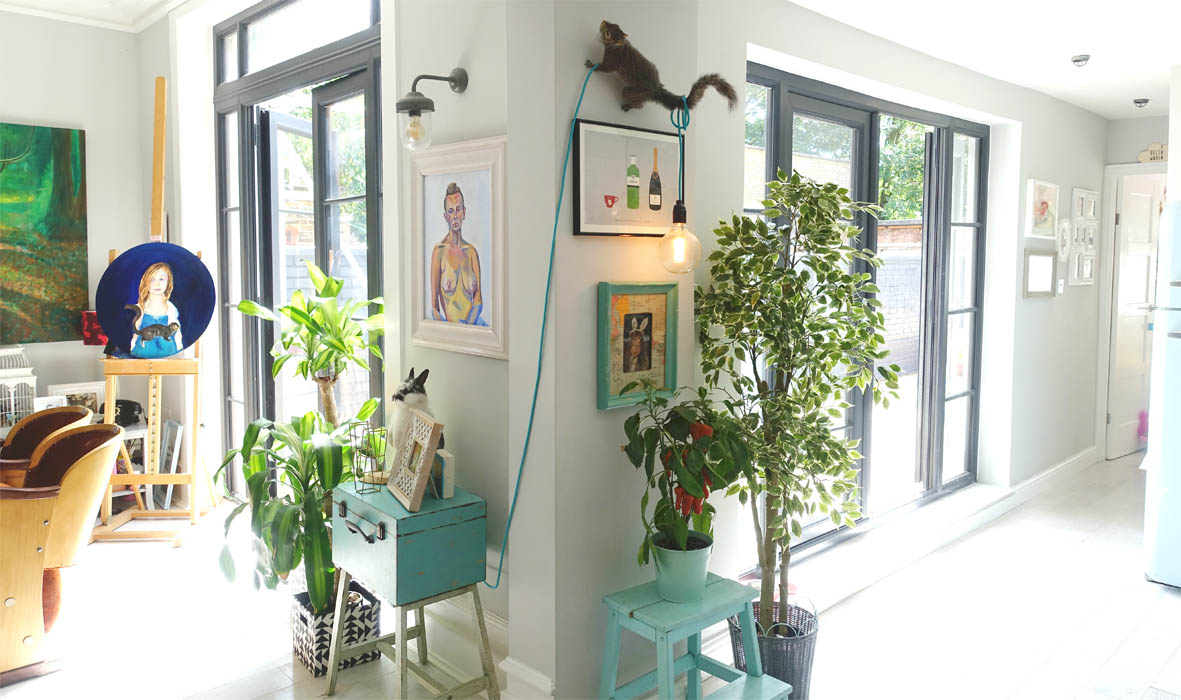 The Double doors bring loads of light into the space.