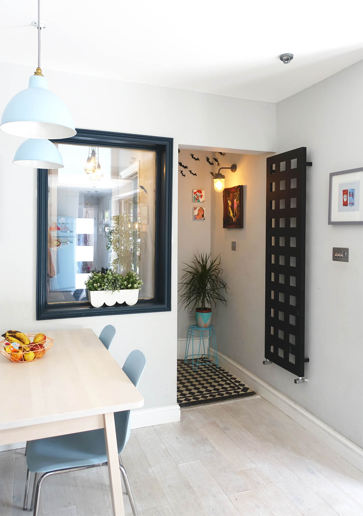 A compact colourful dining area