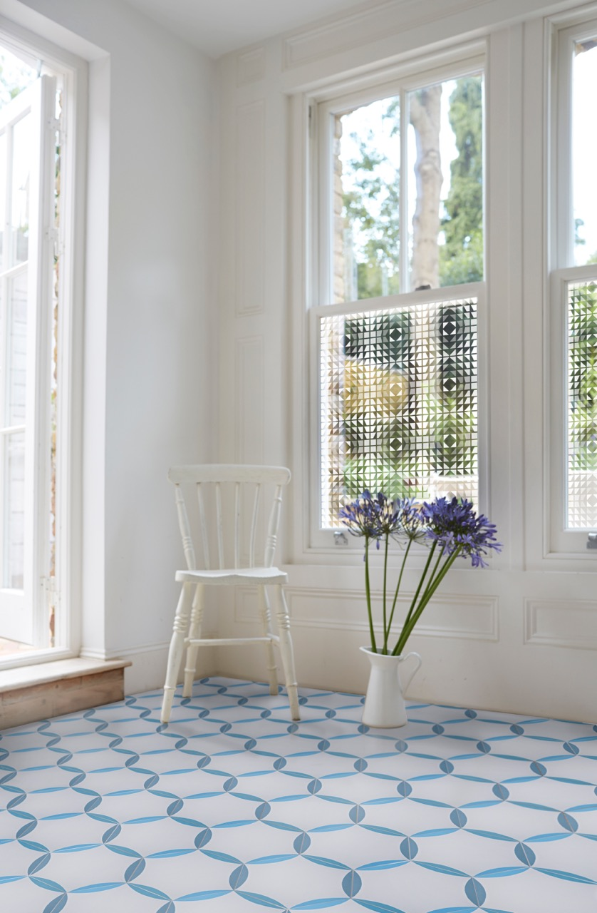 Impactful partners: the  Crystal window film  and the Hex blue encaustic tiles.