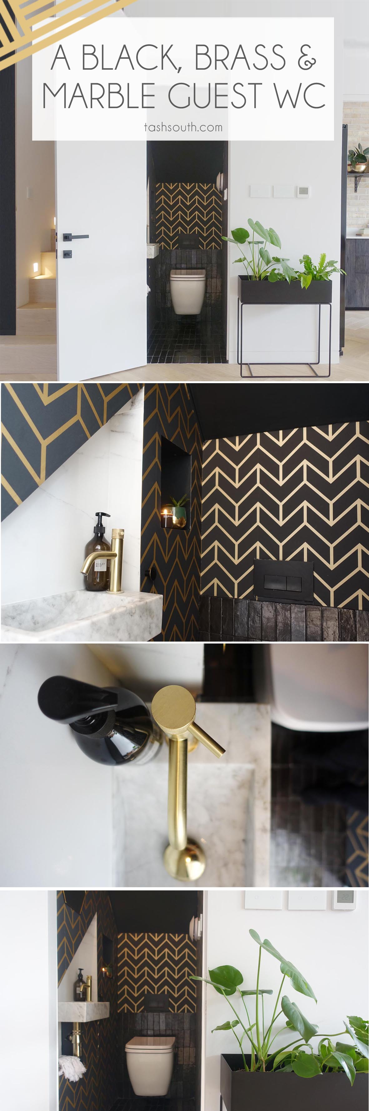 BLACK, BRASS AND MARBLE GUEST WC