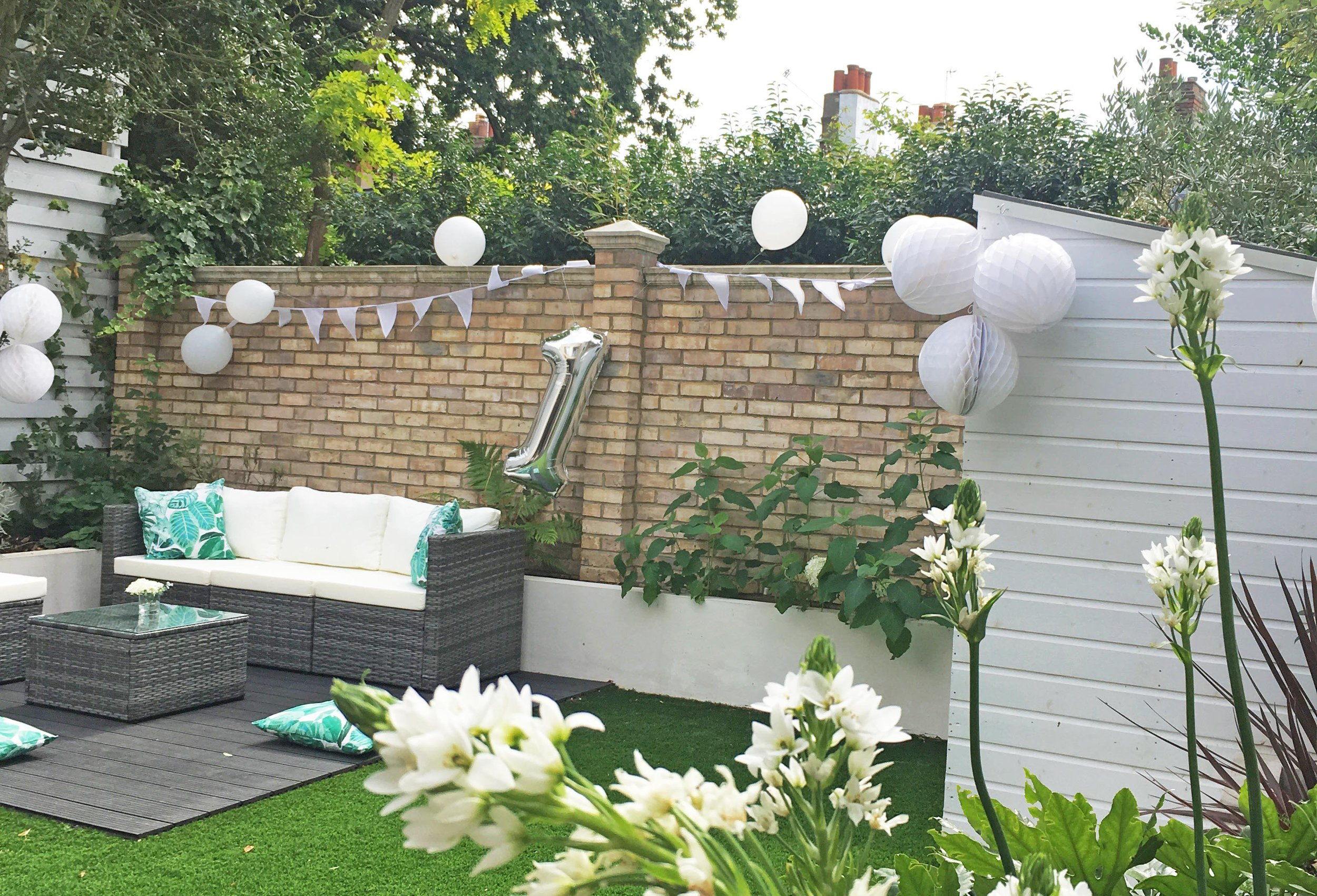 The garden decorated and ready for our daughter's first birthday party.