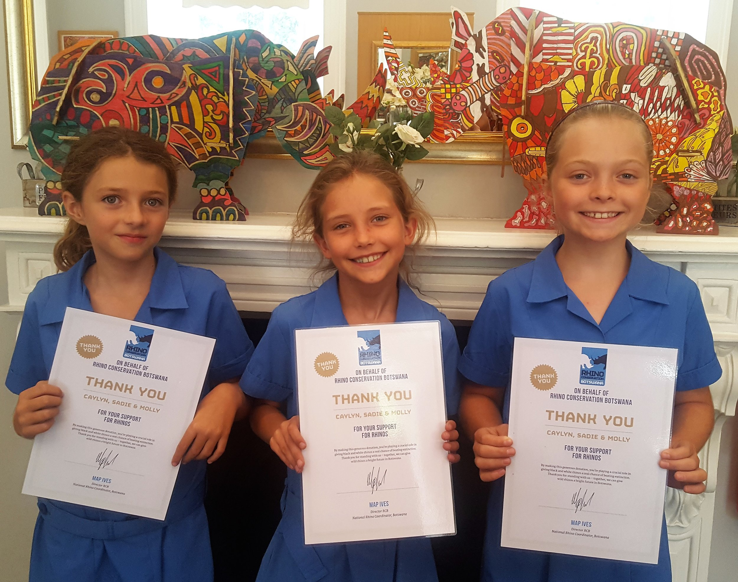 Three brilliant young ladies, (l–r) Molly, Sadie and Caylyn sold sweets to raise money for rhino conservation.