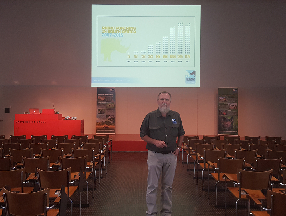 RCB's Director Map Ives warms up for his presentation to Swiss rhino-lovers