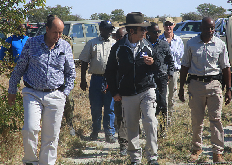 President Ian Khama and Minister of Environment Natural Resources Conservation and Tourism, Mr Tshekedi Khama (left), welcome the new rhinos to Sowa. Photo courtesy of Kelly Landen