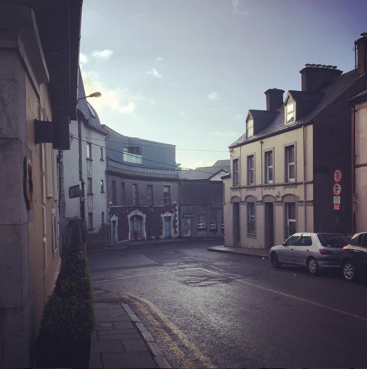 Early morning view outside the hotel in Cork before we boarded the bus for Galway