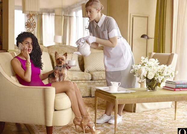 The young woman is on the phone and not acknowledging the presence of the maid. Source:Chris Buck/O, the Oprah Magazine