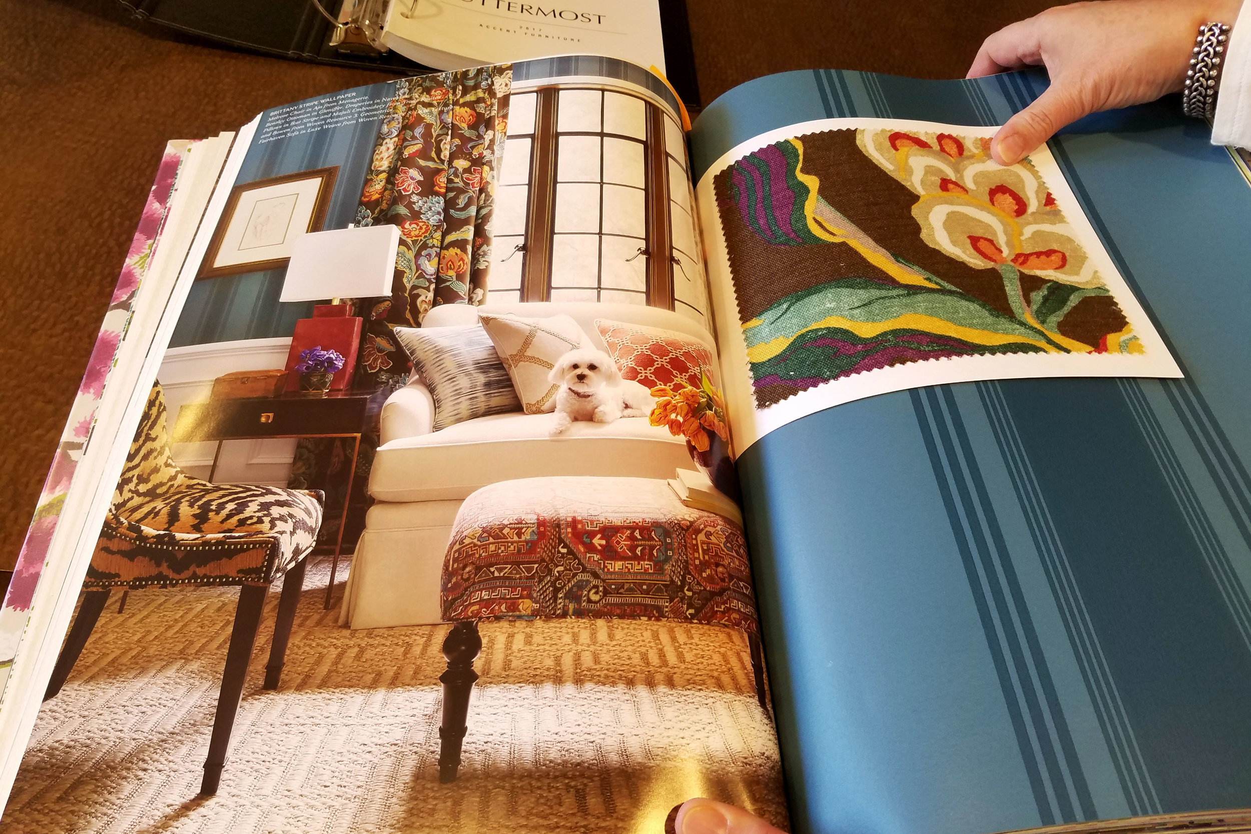 How do you feel when you look at these photos from our Thibaut wallpaper books?  Are you also able to instantly connect with these spaces?