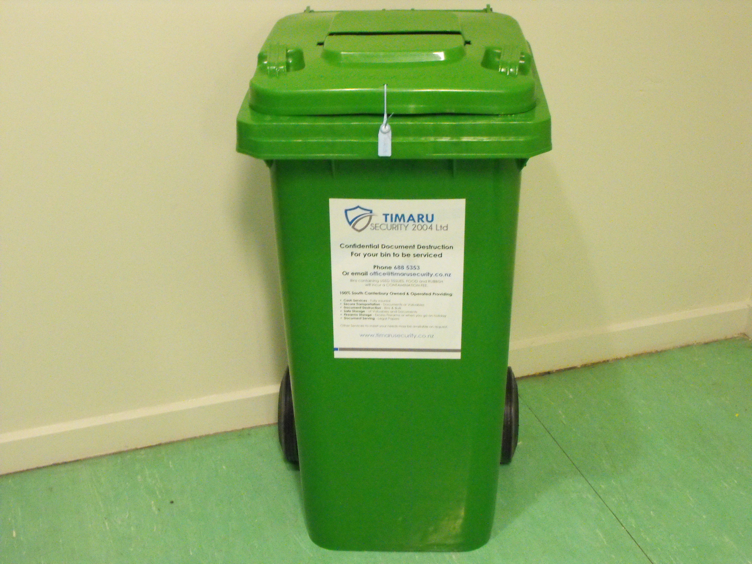 Secure bins emptied on regular basis or as required.