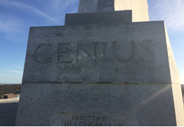"""Genius"" inscribed on the base of the memorial"