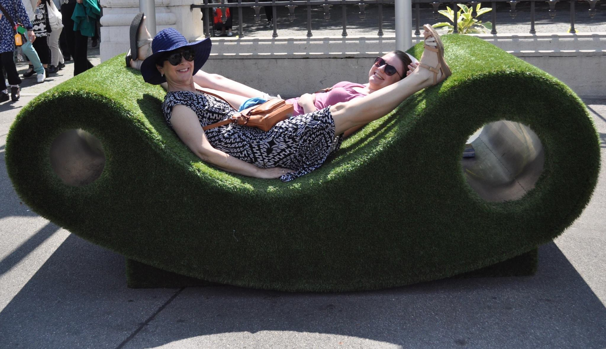 As mentioned, weird turf-covered loungy chair thingy-ma-bobs.
