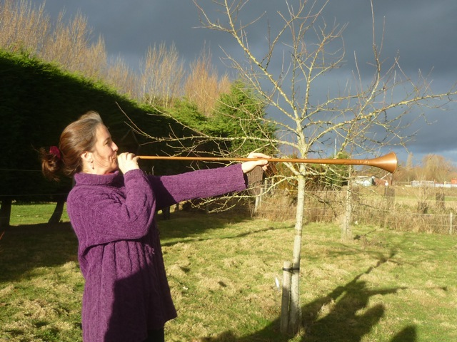 woman blowing wassail trumpet.jpeg