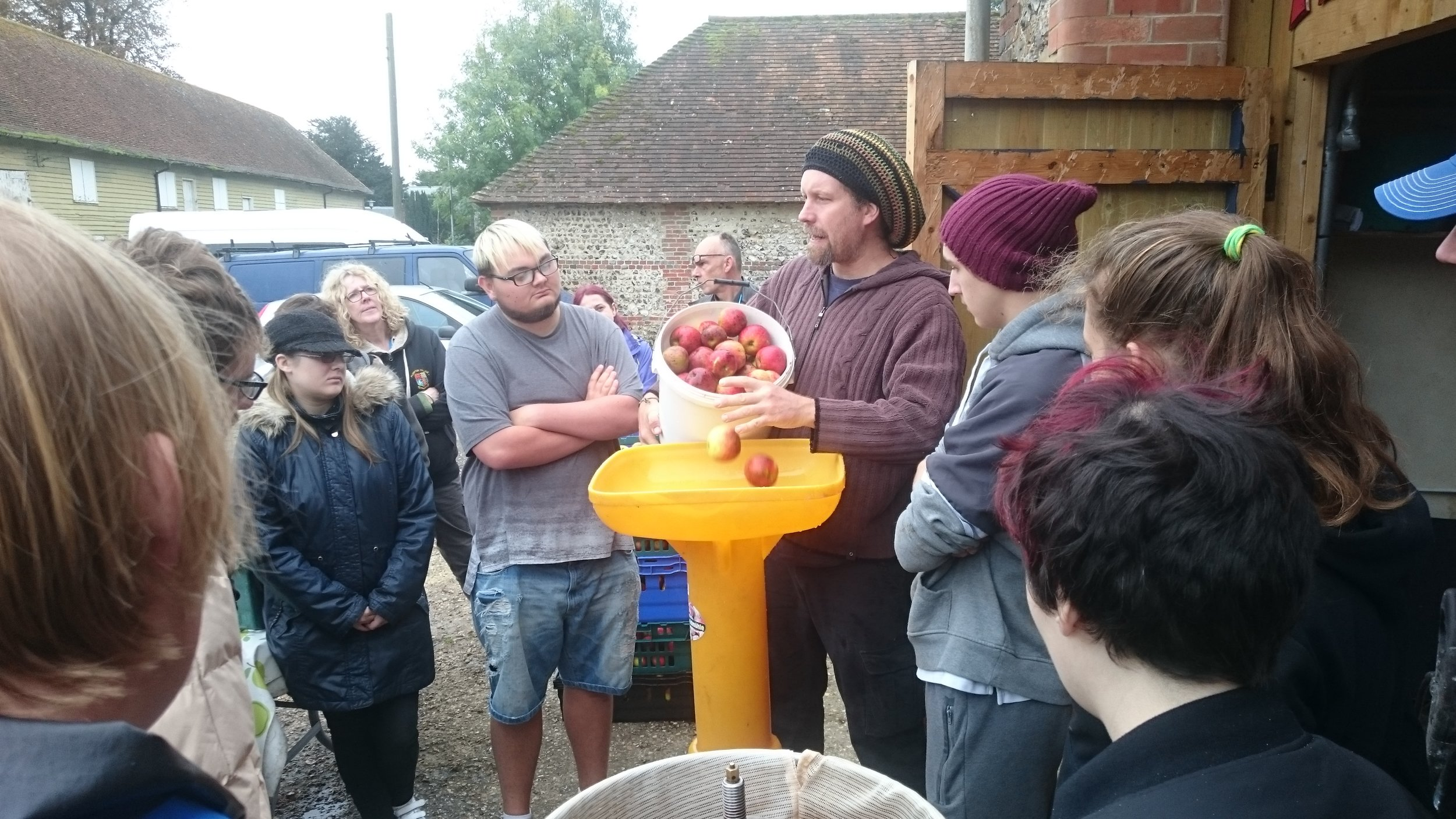Tipping the apples into the macerator