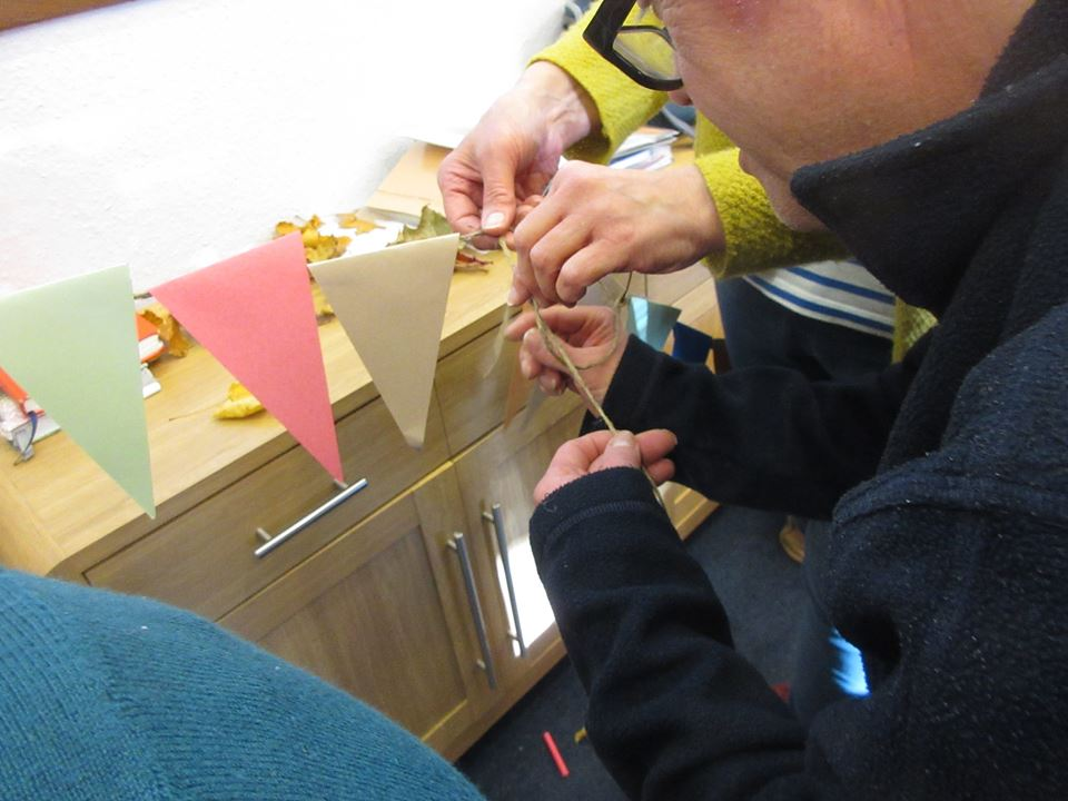 Decorating the bunting