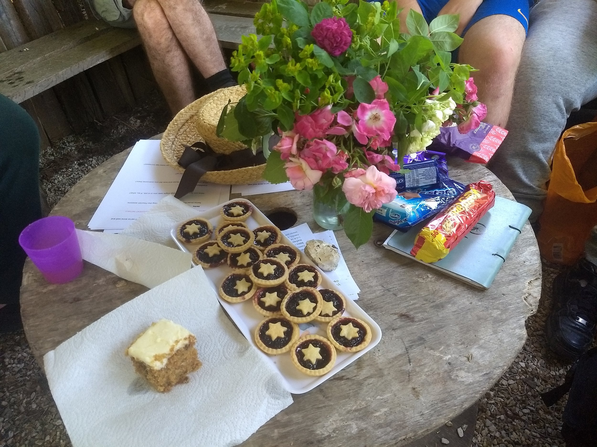 Flowers, cake and tarts