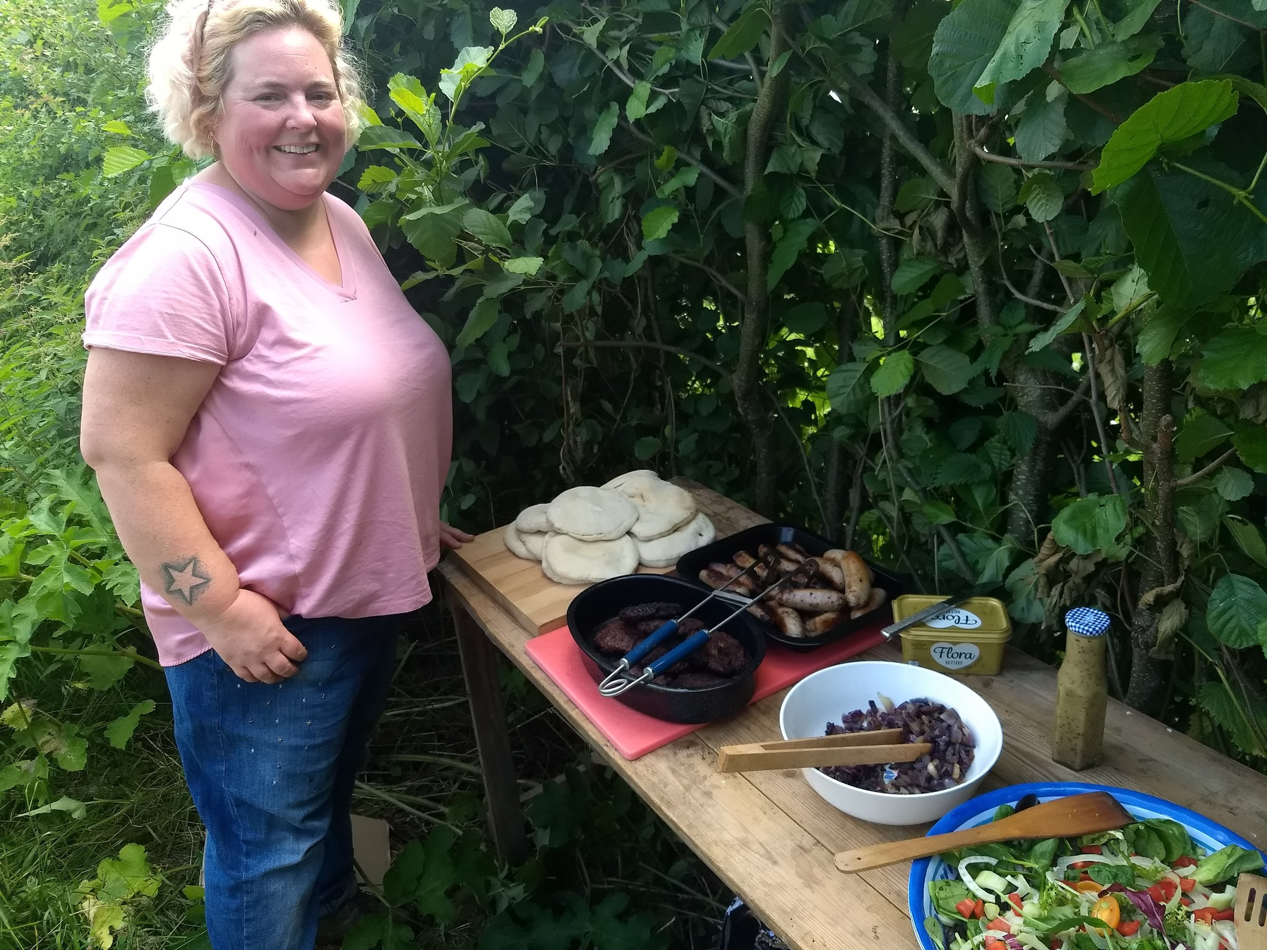 Rhiannan and her lovely salad and cooked meats
