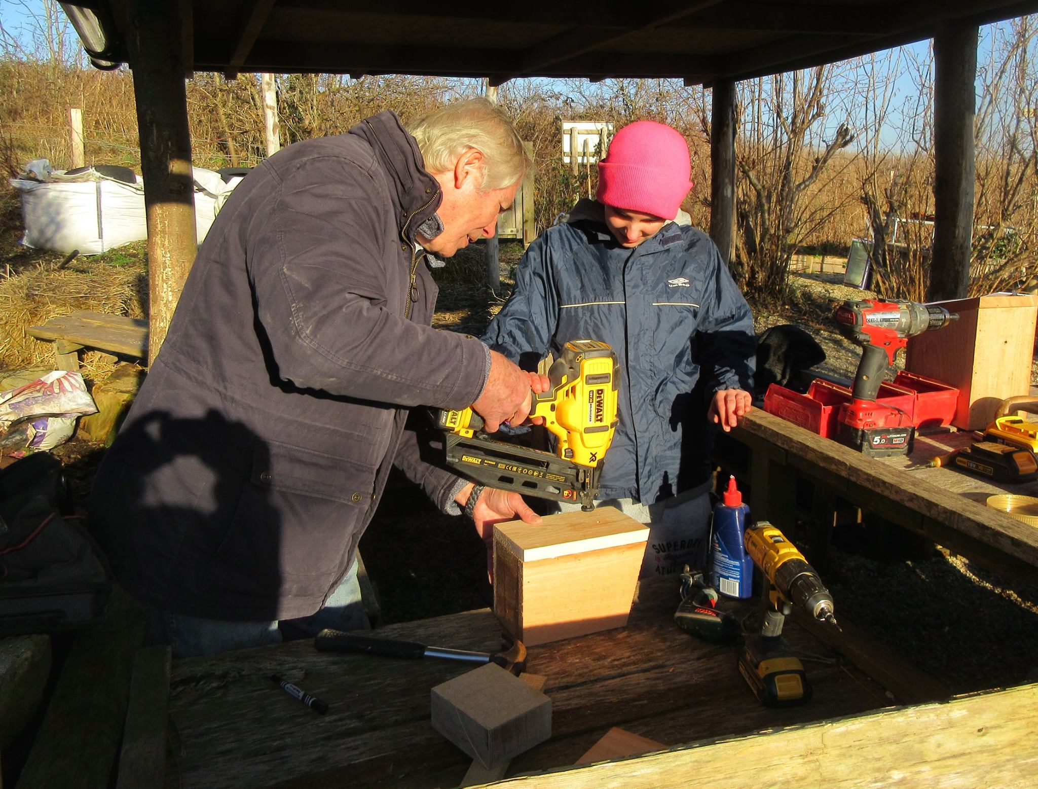 Making bird boxes with the Monday Club