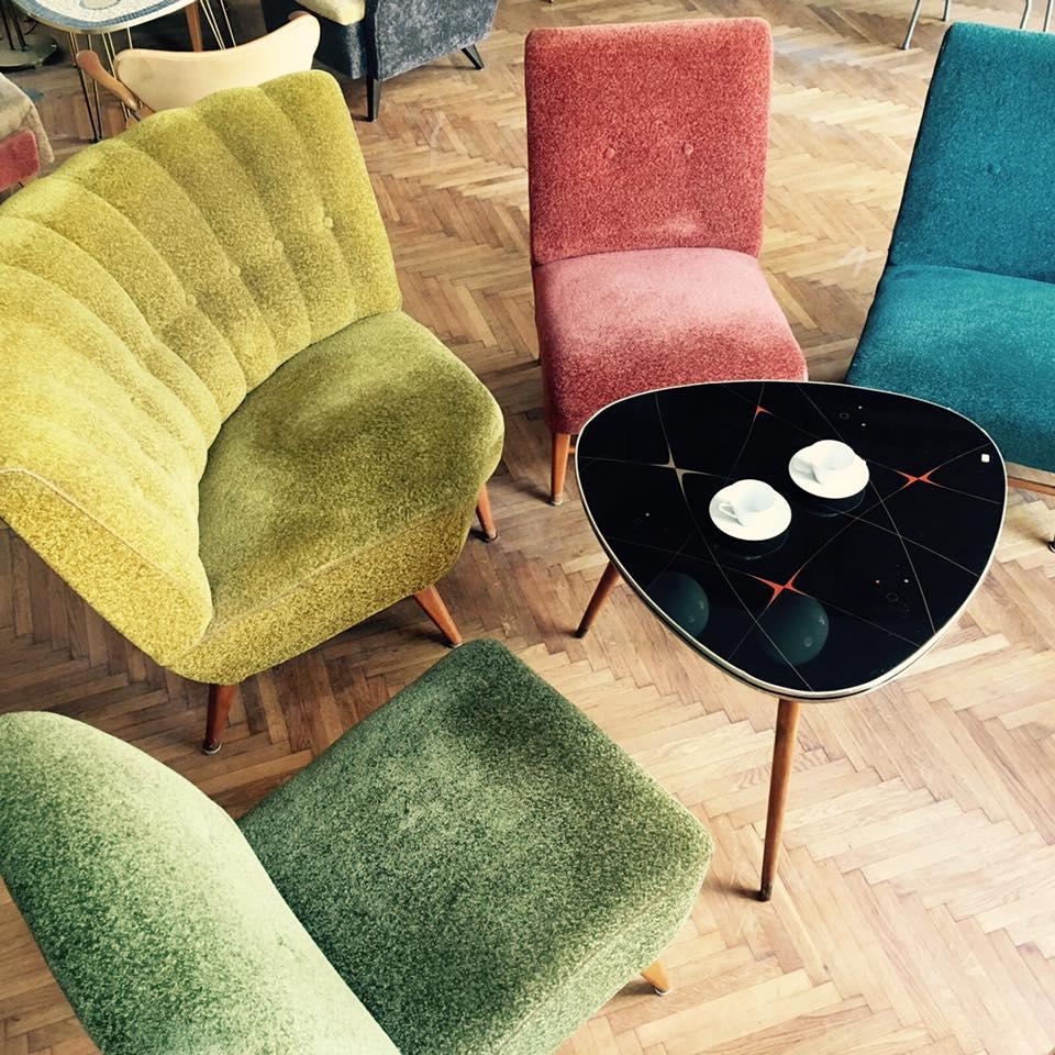 Sitzgruppe, 50er Jahre, Originalstoff