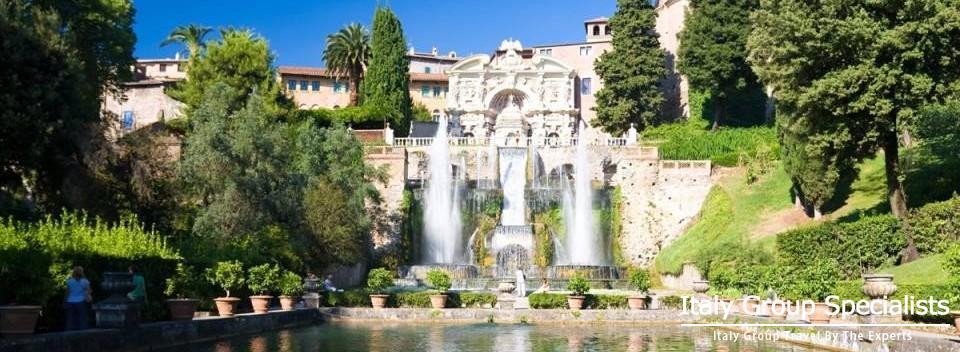 The Villa d'Este is a 16th-century villa in Tivoli, near Rome, famous for its terraced hillside Italian Renaissance garden.