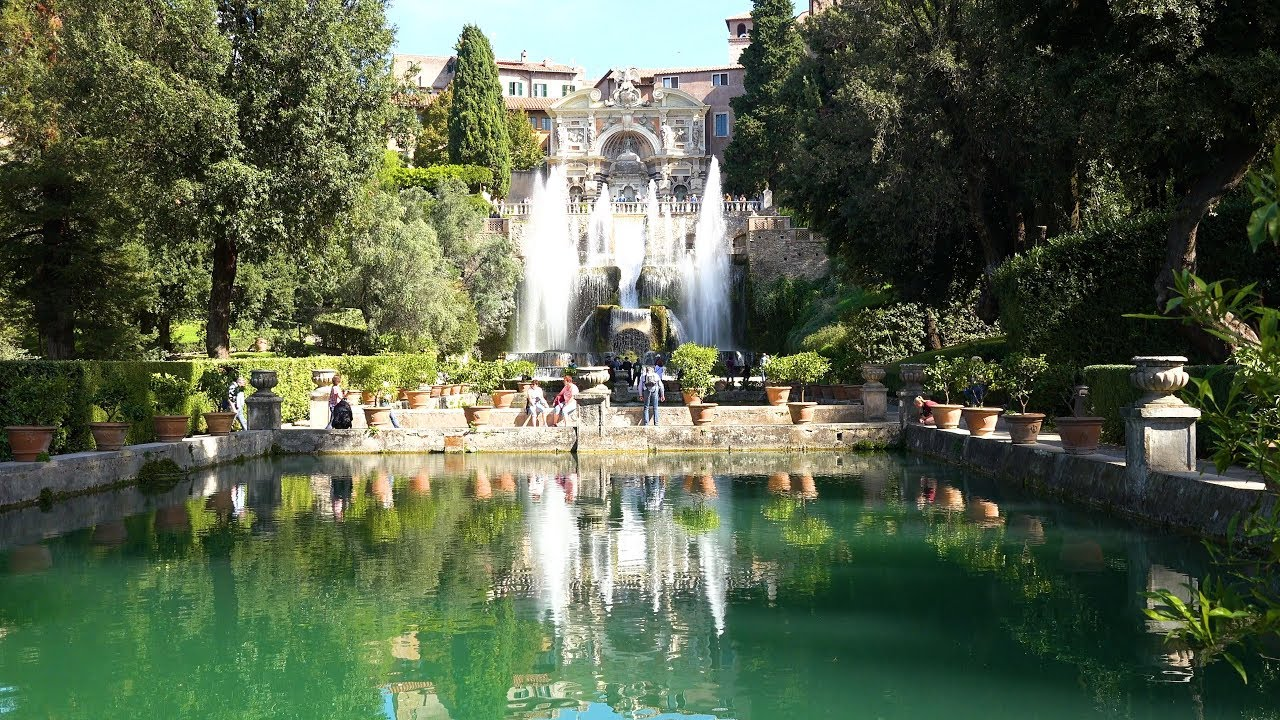 The Villa d'Este is a 16th-century villa in Tivoli, near Rome, famous for its terraced hillside Italian Renaissance garden.