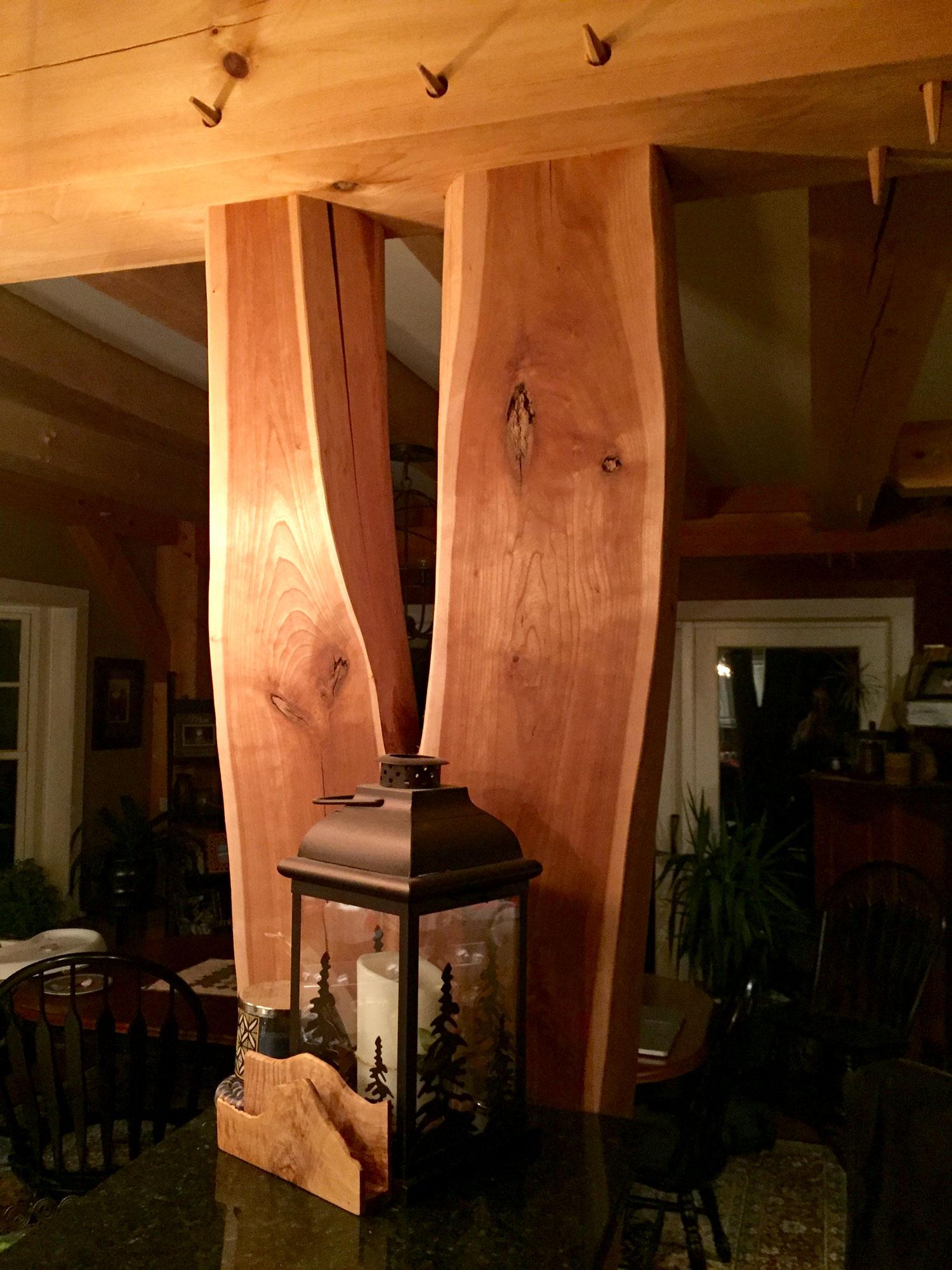 Interior timber frame detail - Berkshire Mountain Design Build, LLC