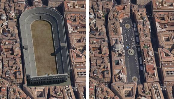 Computer rendition of the Stadio di Domiziano vs today's Piazza Navona; Rome, Italy   ** Source:http://stadiodomiziano.com/en/english-the-stadium/