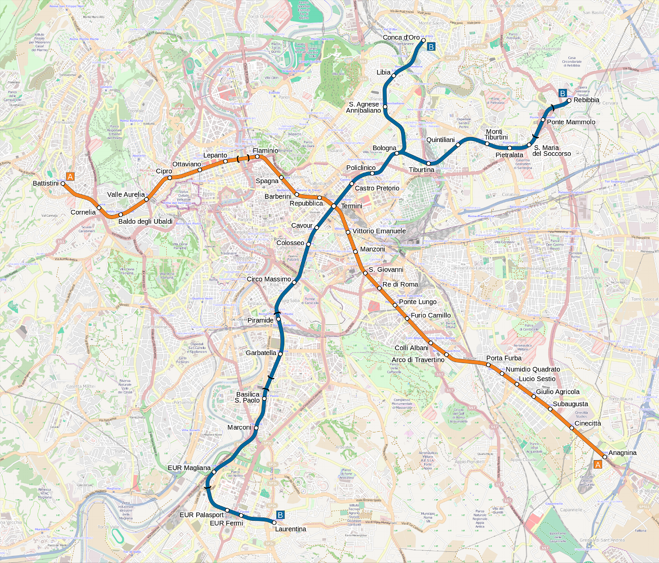 METRO MAP: - Click on the map to see a larger version of the underground Metro system in Rome. Our apartment's closest Metro station is the COLOSSEO stop, along the Blue line.