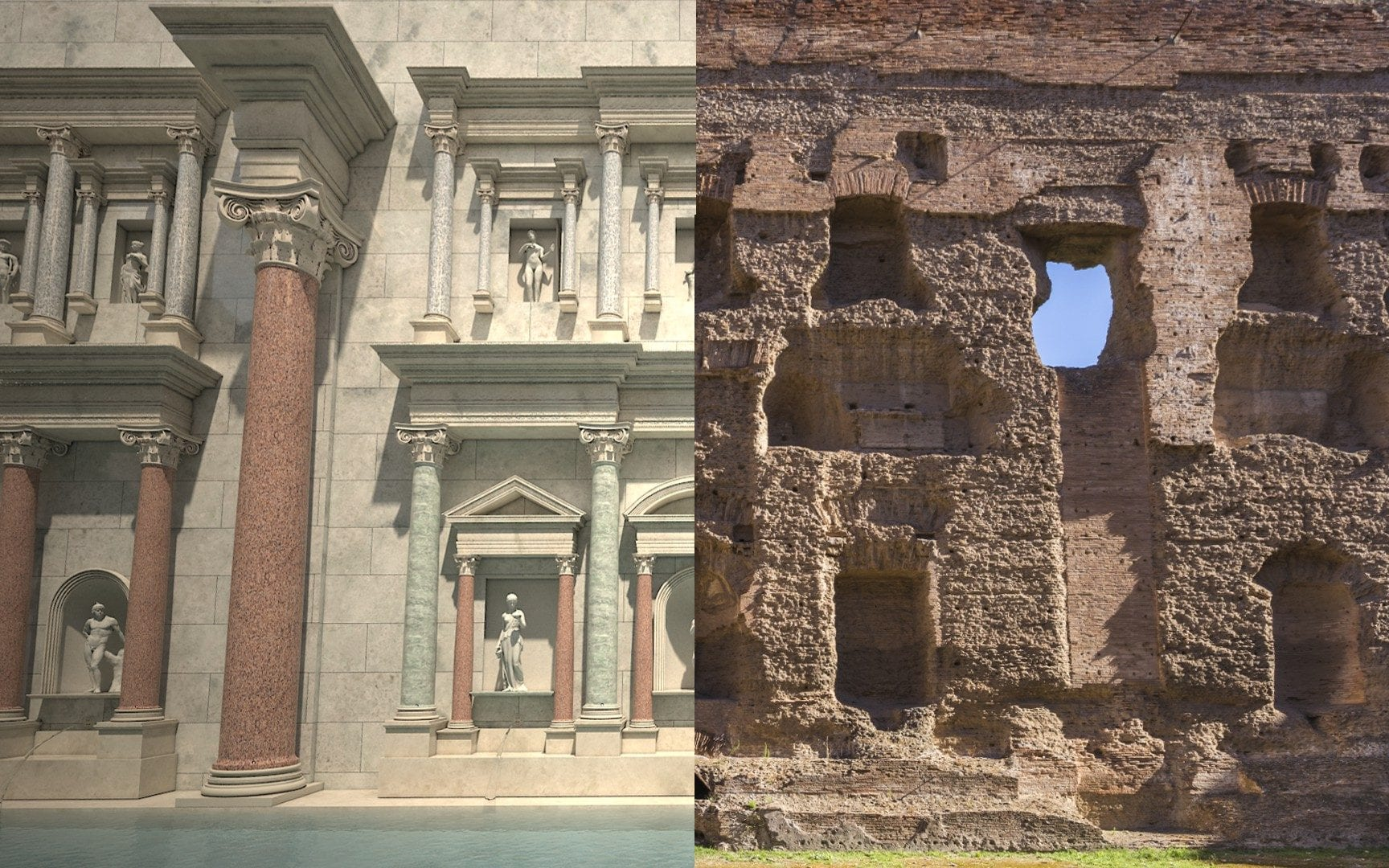 Before and after - the Baths of Caracalla as they are today and as they were nearly 2,000 years ago.CREDIT: ITALIAN CULTURE MINISTRY