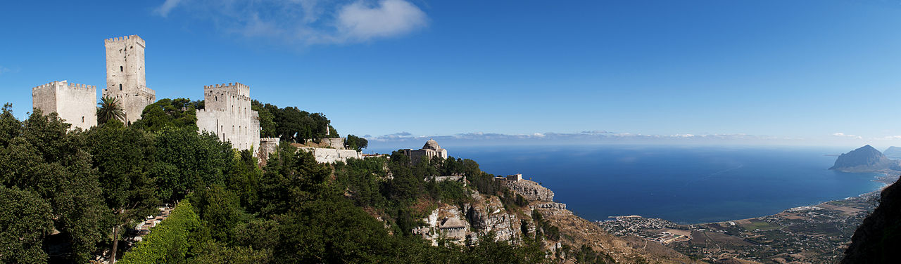 Panorama of the northwestern coast of Sicily from the hilltop town of Erice (where our proposed cooking class will be)