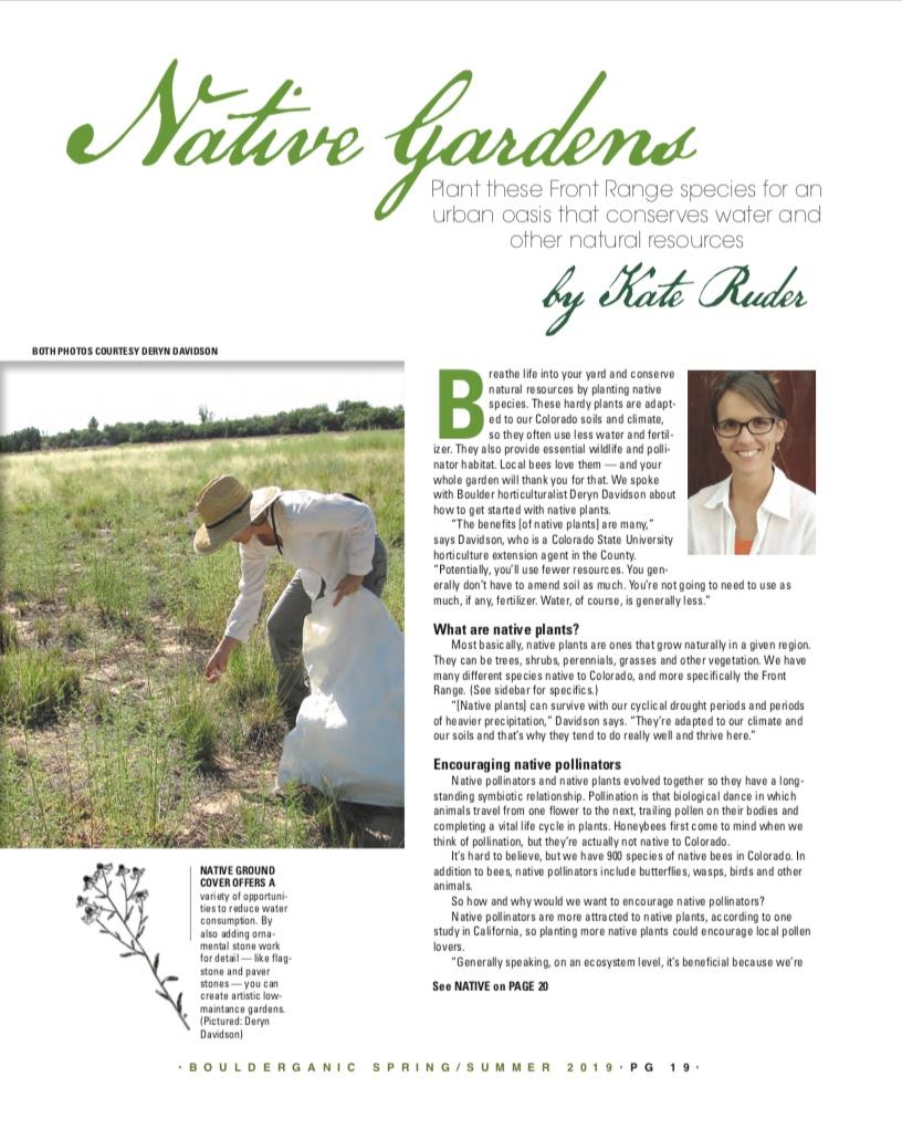 Native Gardens   Bouderganic Magazine  Spring/Summer 2019 Issue  Page 1/3