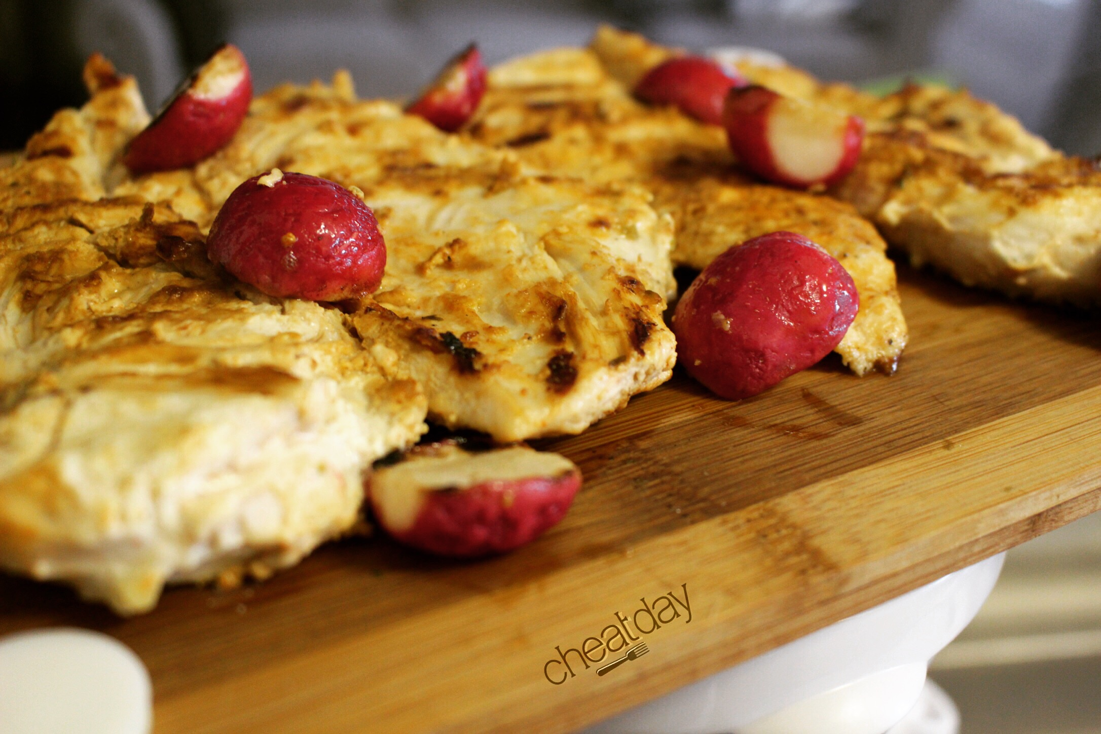 Finished Chicken and radishes...ready to be devoured