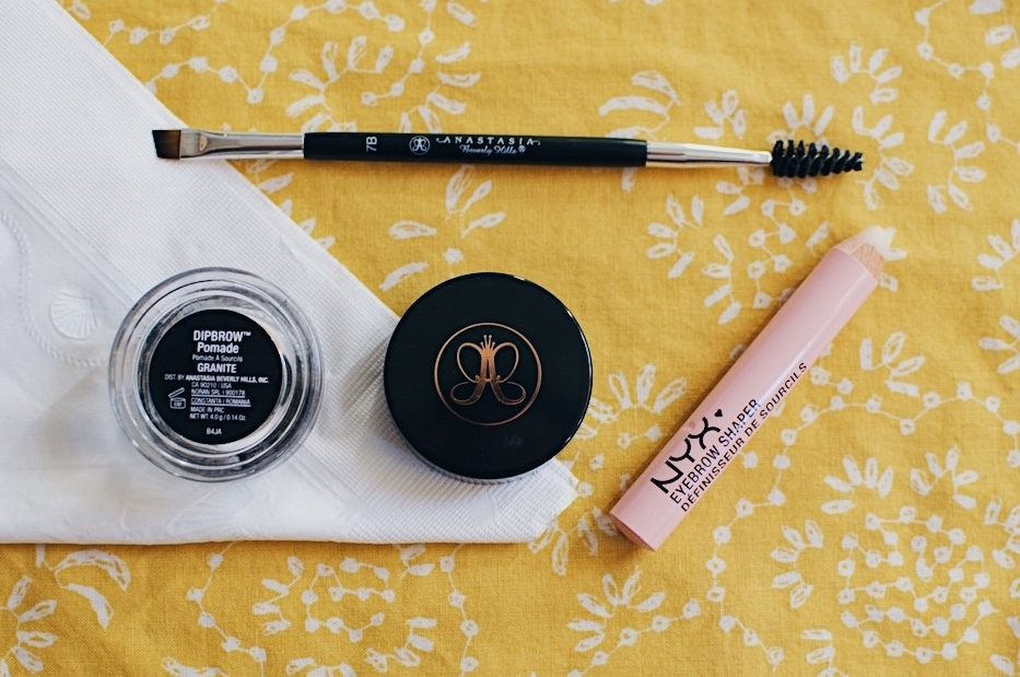 3. Brows - This is a must, no matter what the weather is. Even though the Anastasia Dipbrows are intimidating, I like to use a light hand to create a natural brow and use the NYX wax eyebrow shaper to seal it in.