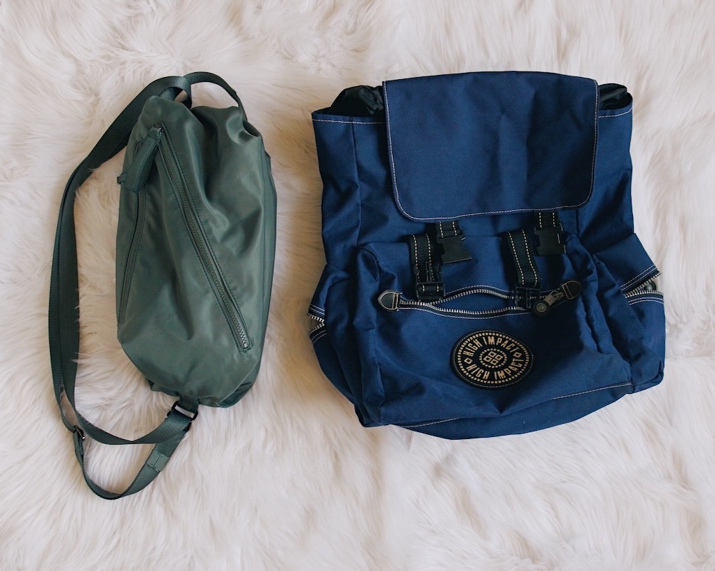 Bags - Pick bags that have the most space and choose function over fashion. I decided to use the same bags from my camping trip because I know I can cram a lot into both. Plus, I can roll the smaller bag and place it into the larger one. I also don't mind the athleisure look of it for roaming about the city.{ blue backpack - my mother // smaller bag - lulu lemon }