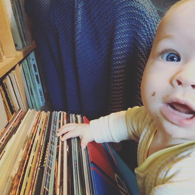 Digging in the crates with a porridge-y face. #babiesofinstagram #babies #baby #records #vinyl #recordcollection #recordcollector #dj #lps #likefatherlikeson #cratedigger #cute #babyboy #prouddad