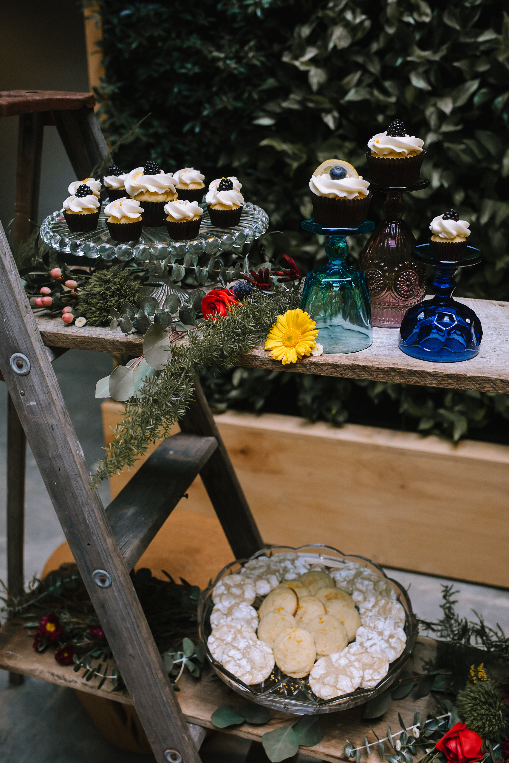 Dessert table from Mixed with Love Cake & Cookie Co set up by Vintage Alley Rentals & Exhale Events.