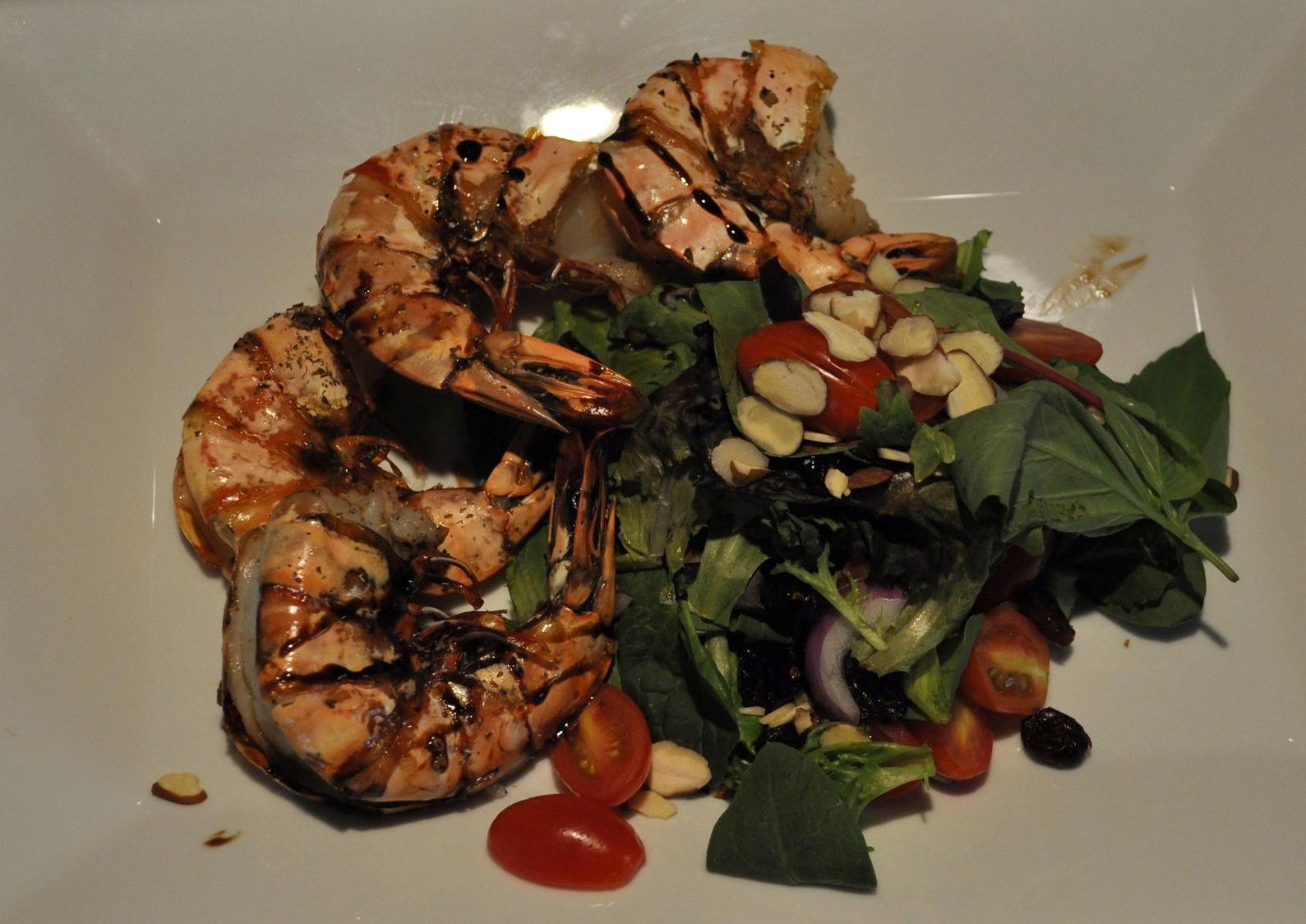 Tiger Shrimp over Mixed Salad