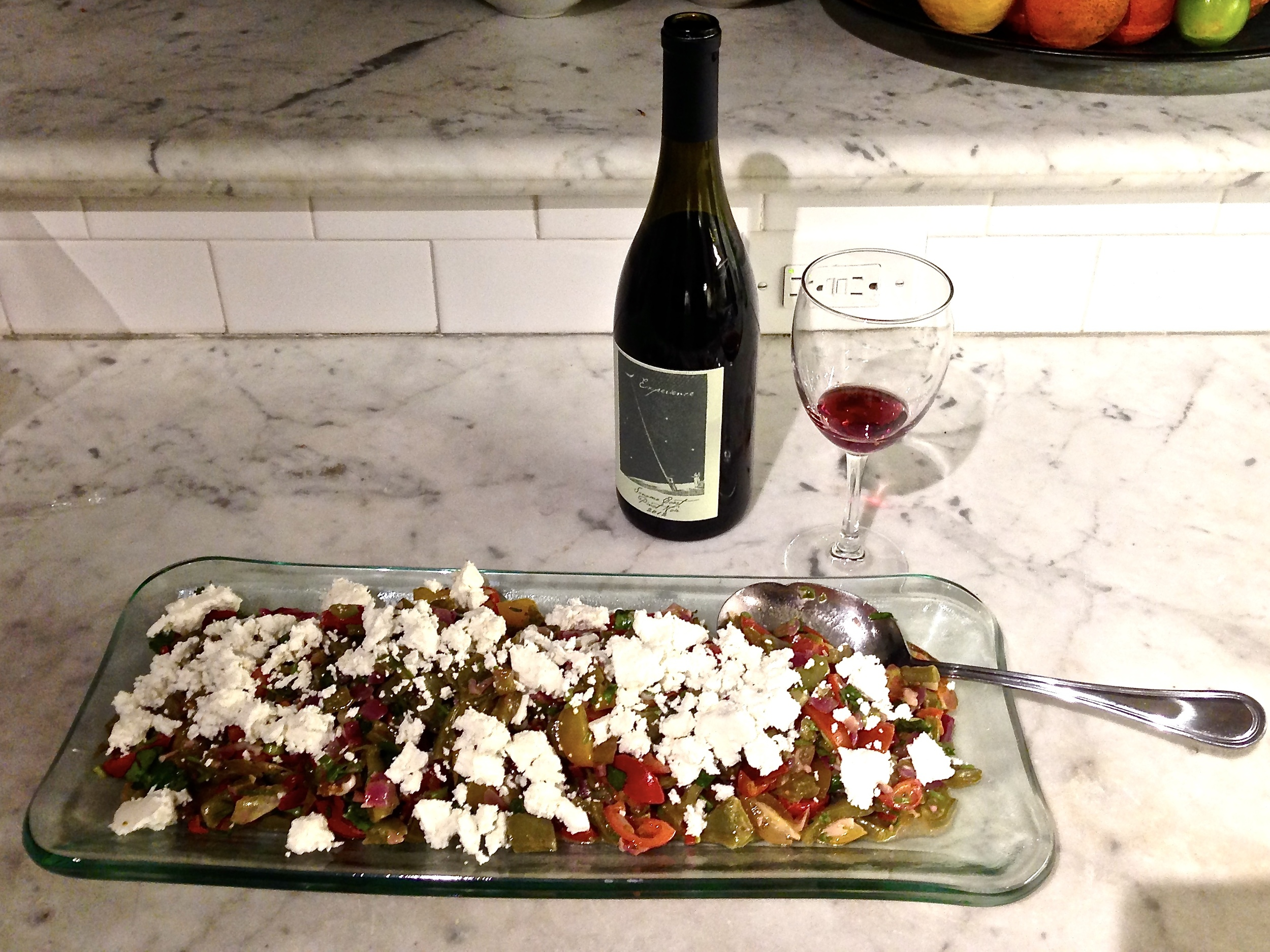 Nopales salad with queso fresco and a juicy red in Malibu, CA