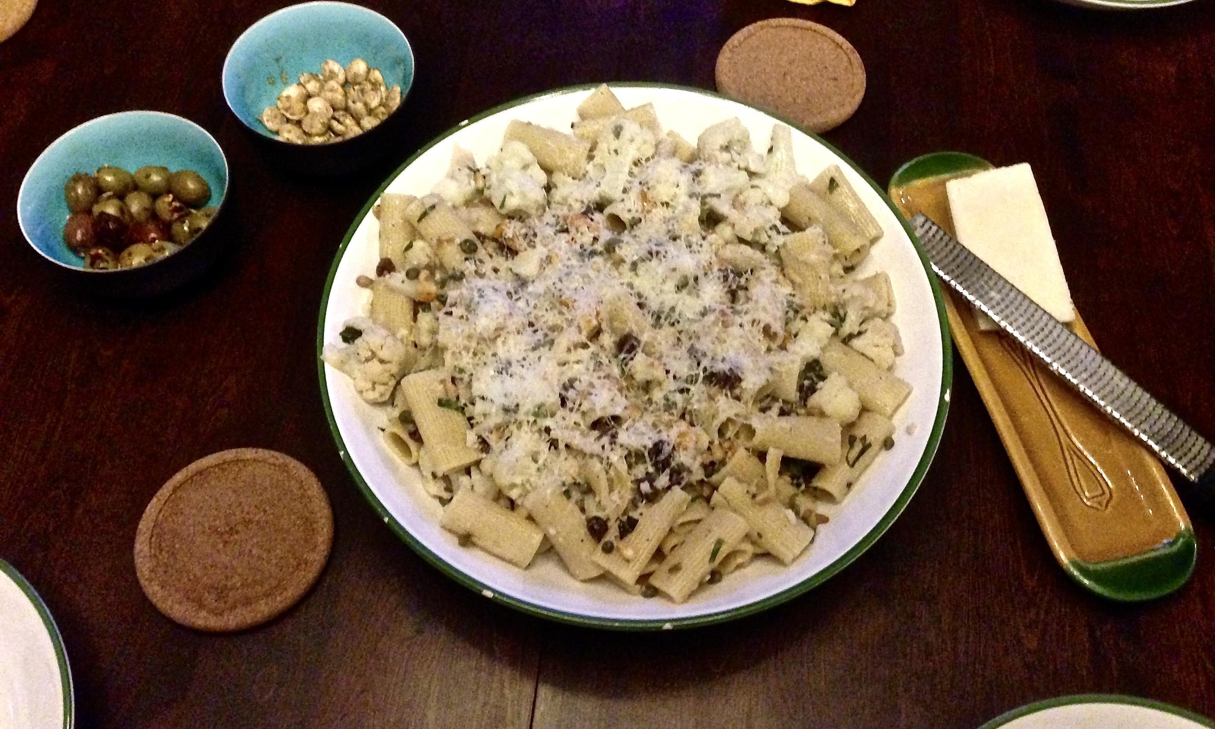 Rigatoni with cauliflower, capers, and raisins prepared with a dear friend in Tulsa, OK. Yum!