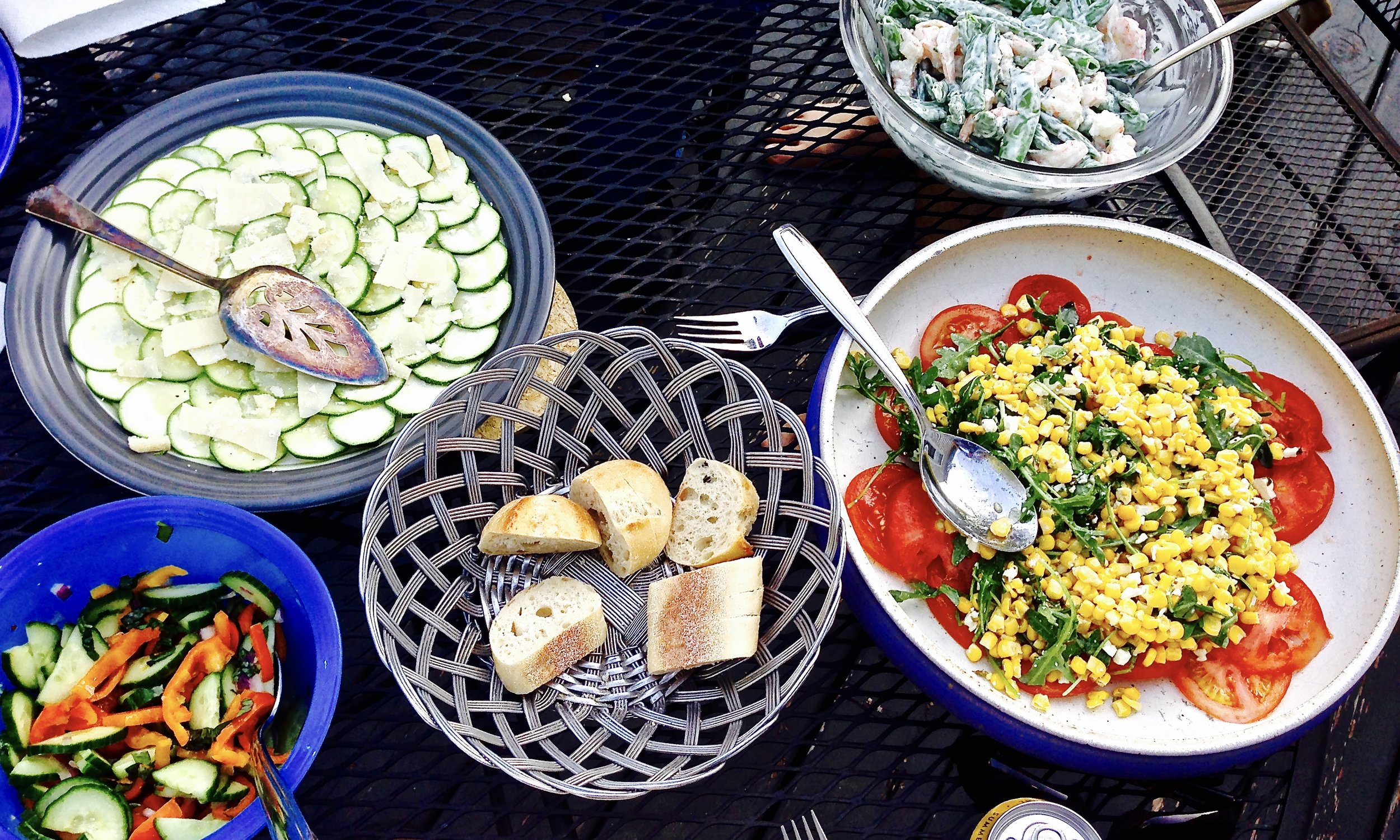 A summer smorgasbord of delicious salads, enjoyed with friends in Madison, WI