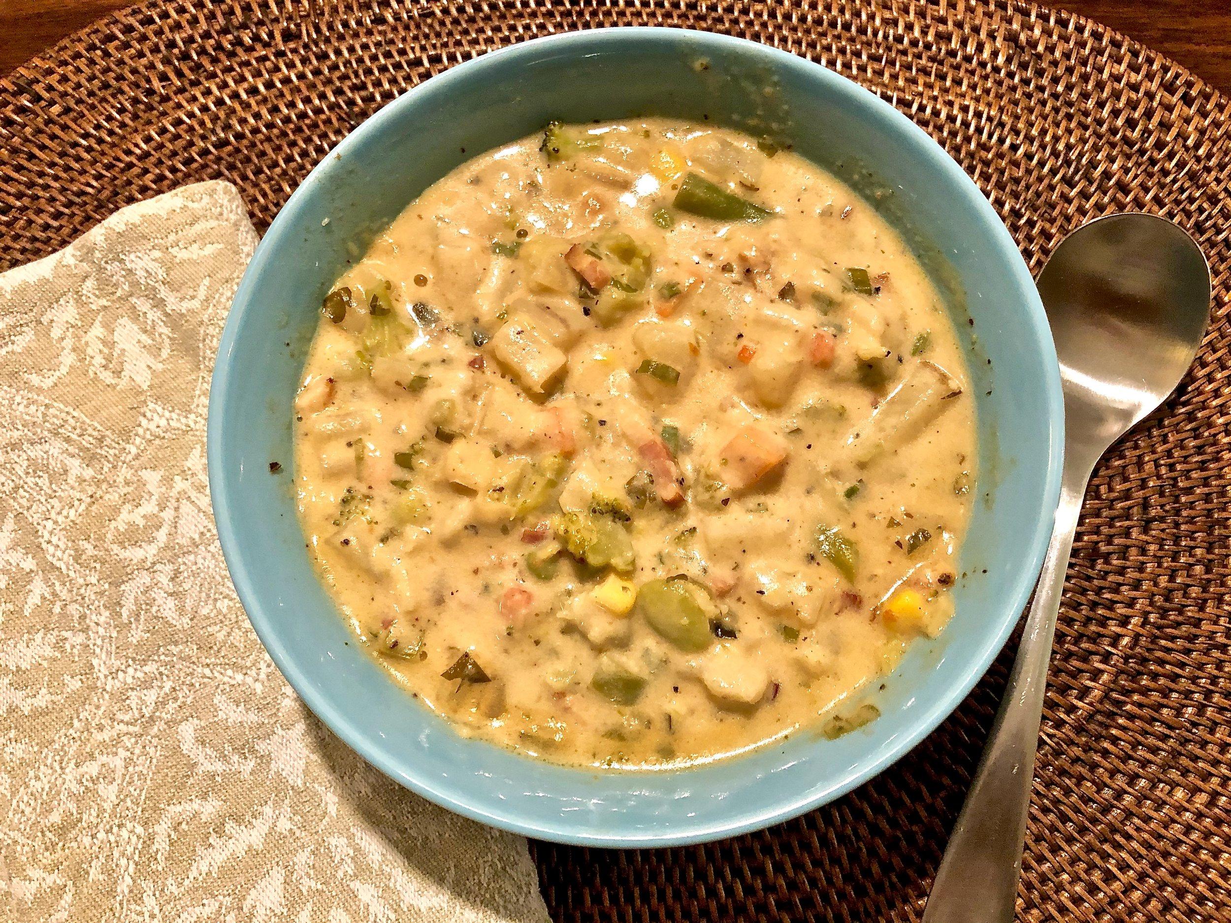 A delicious potato-broccoli-cheddar chowder.
