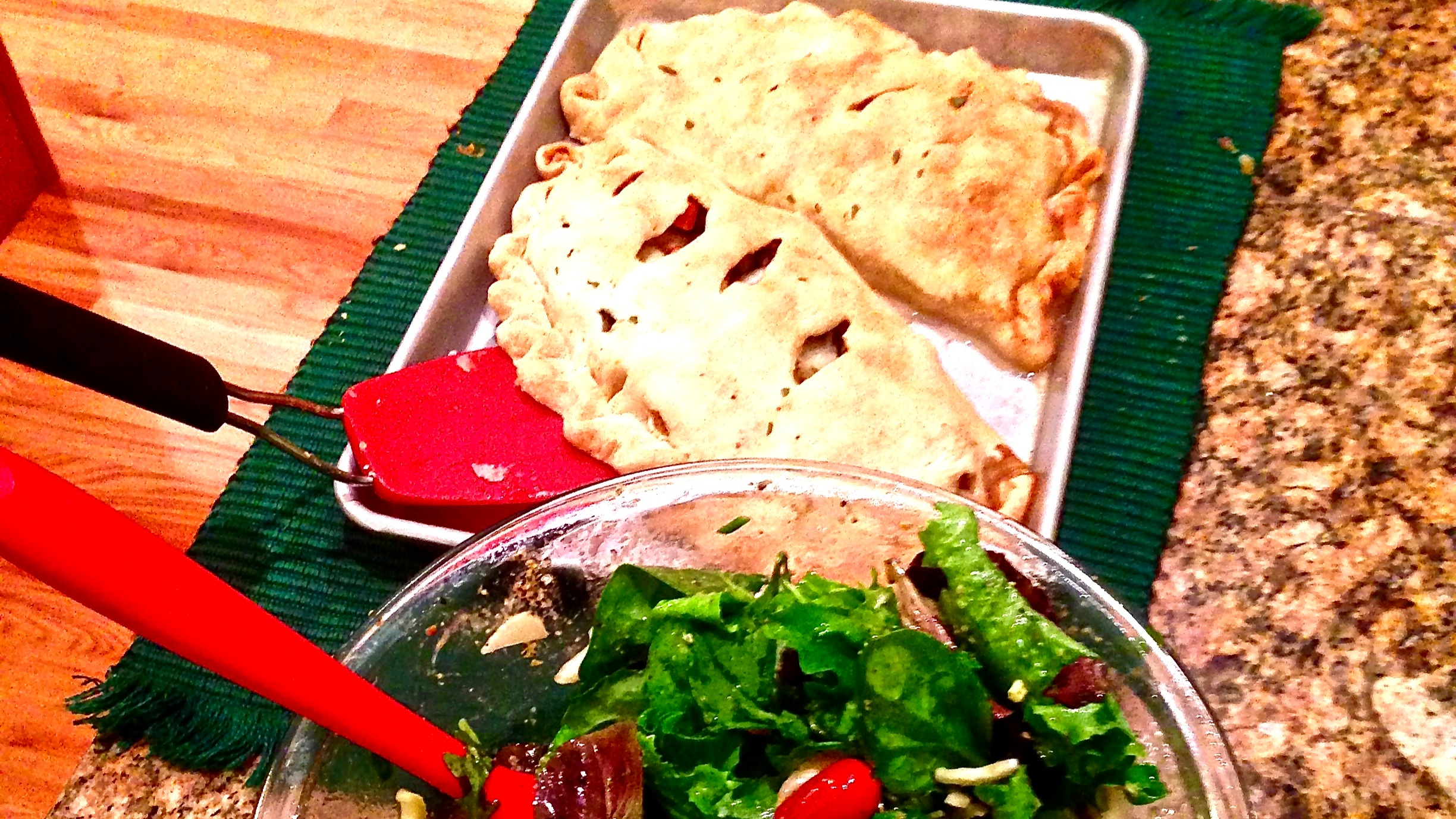 Cornish Pasties with a beautiful green salad, prepared in Boulder, CO.
