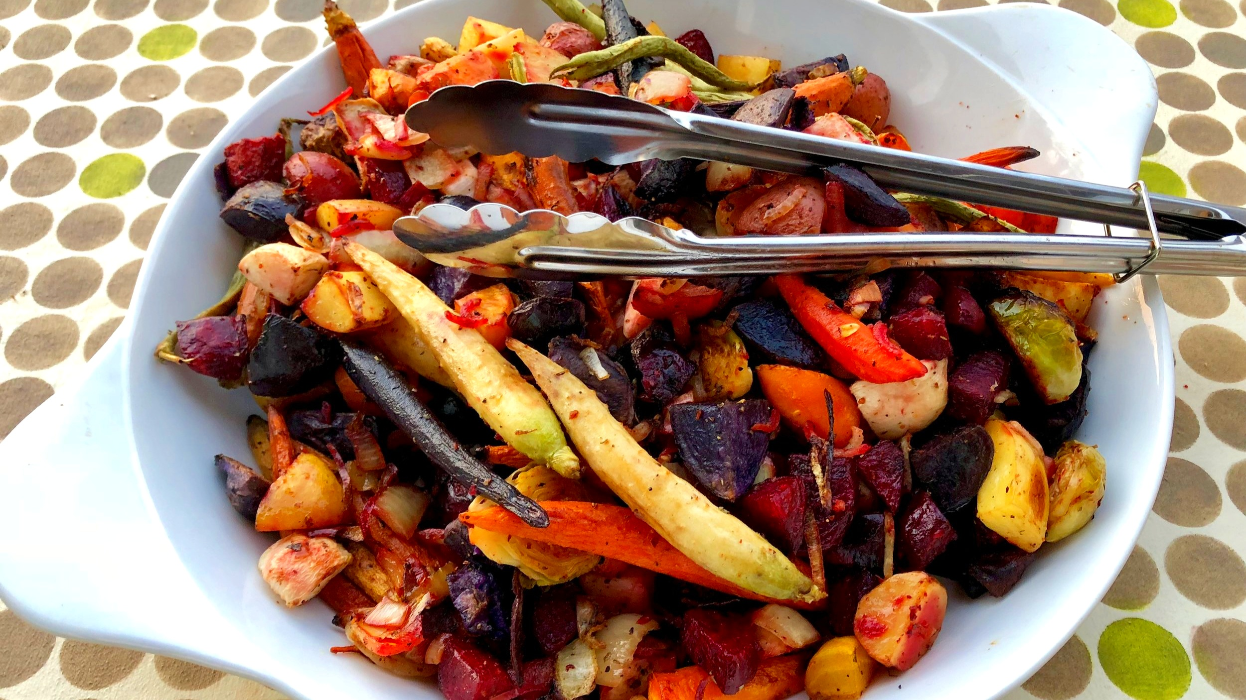 Gorgeous organic oven-roasted root vegetables to accompany grilled salmon; prepared in Sandpoint, ID