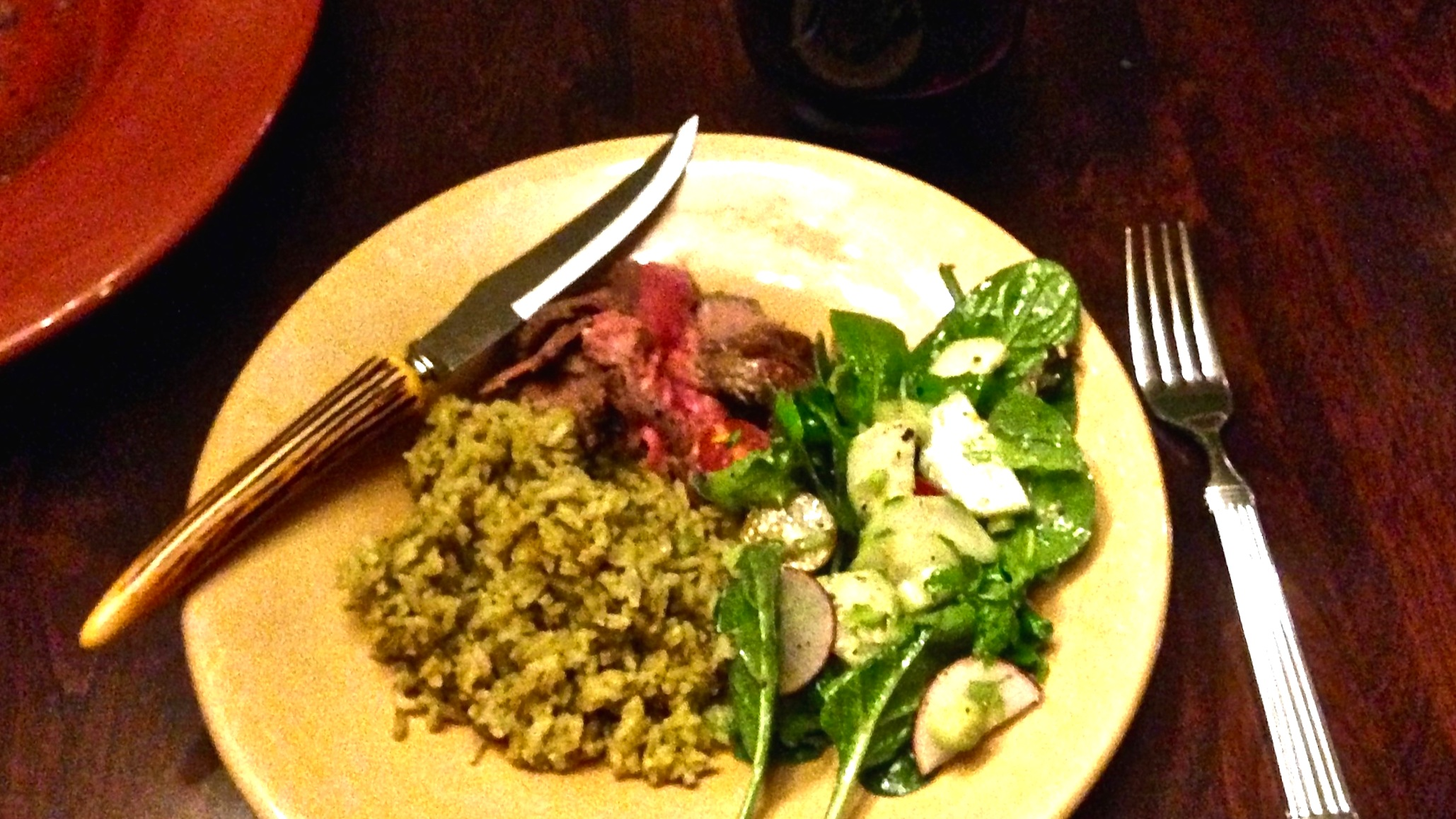 Grilled London Broil with Cilantro Rice and Tossed Green Salad; prepared in Tulsa, OK