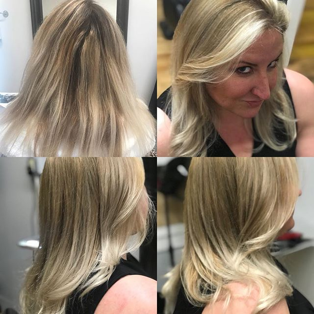 #beforeandafter by @hairgodsteph beautiful blending #reversebalayage to bring this hair back to life! #hivehair #newhaven #balayage #wella #colortouch #colorcorrection #behindthechair